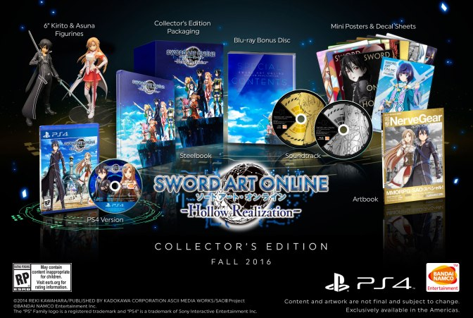 SWORD ART ONLINE: HOLLOW REALIZATION COLLECTOR'S EDITION NOW AVAILABLE FOR PRE-ORDER
