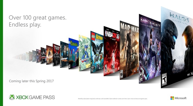 Xbox is offering a Games Pass subscription service this Spring