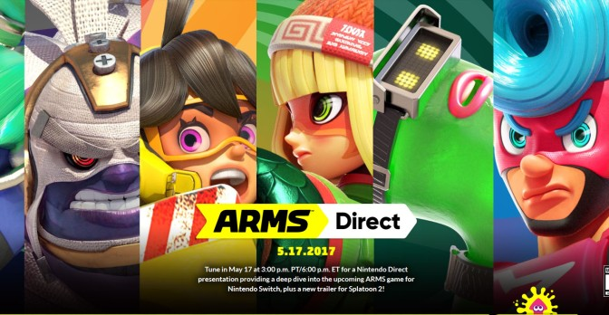 "Don't miss out on the Nintendo Direct today, which will focus on ""ARMS"" at 4pm MST"