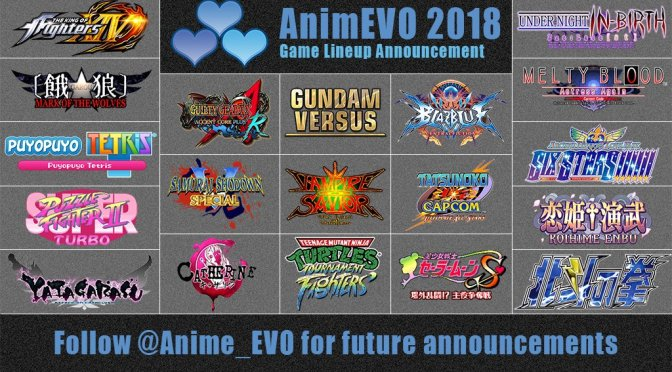 AnimEVO 2018 has announced the game lineup